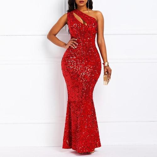 Sequined Sleeveless Wrap Evening Dress