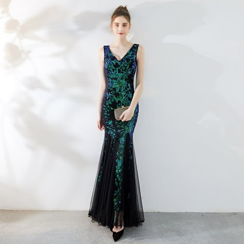 New noble V-neck Formal Evening dress sexy mermaid long evening dresses elegant embroidered sequin evening gown
