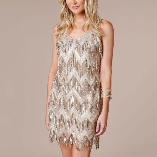 Fashion Sleeveless Sling Tassel Evening Dress