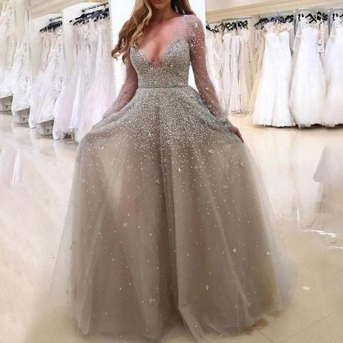 Sexy Long Sleeve V-Neck Perspective Evening Dress