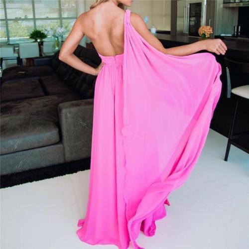 Sexy Sloping Shoulder Sleeveless Solid Color Split Evening Dresses