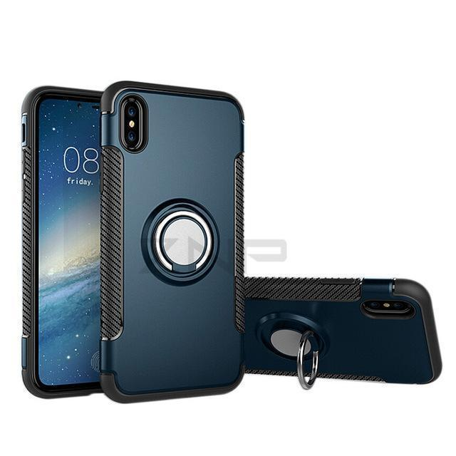 Luxury Shockproof Ring Holder Combo Phone Cases For iPhone X 10 8 7