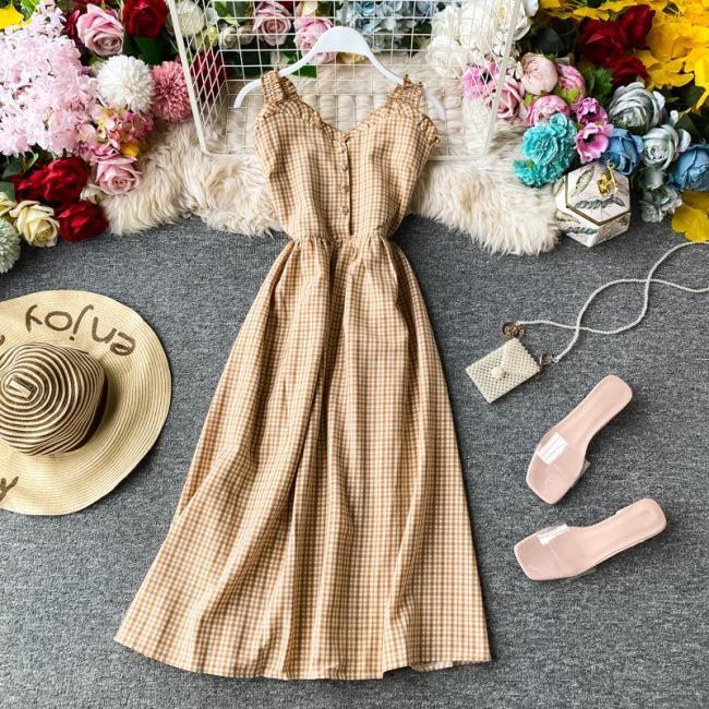 SINGRAIN Women Summer Retro Plaid Strap Dress Korean Sexy Off Shoulder Midi Dress French Romantic Holiday Print Beach Sunderss