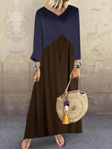 Women's Casual Splicing Loose Maxi Dress