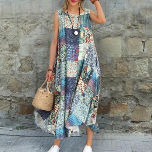 Casual Printed Sleeveless Ankle-Length Dress
