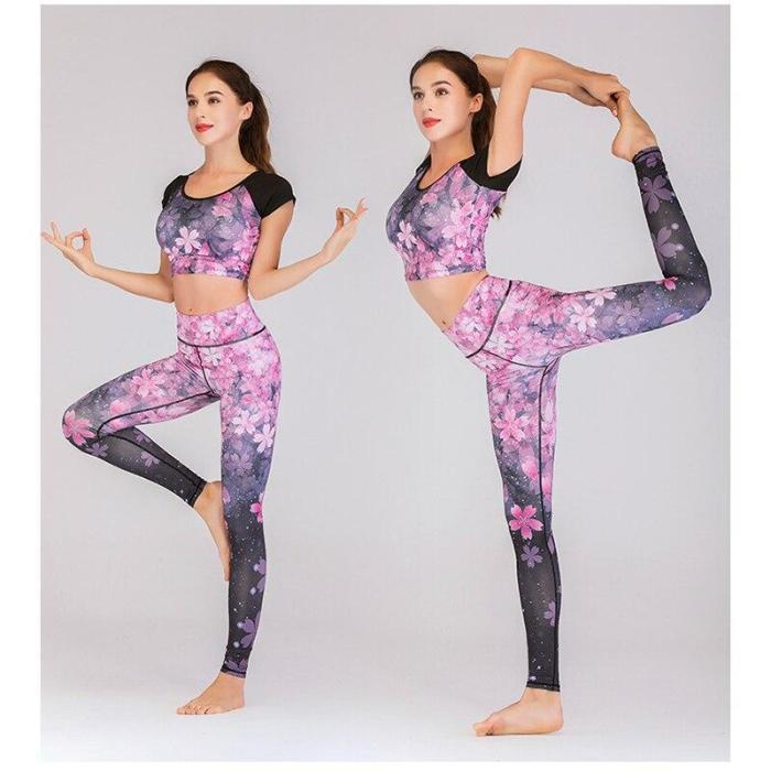 S-XL Print Yoga Set Women Gym Clothes T-shirt Leggings Workout Elastic Slim Tracksuit Fitness Female Sport Suit Gym Sportswear