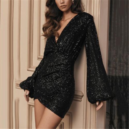 Casual Deep V Neck Glitter Dress