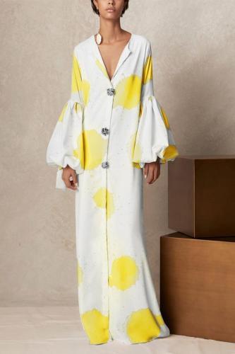 V Collar Long-Sleeved Printing Loose Casual Maxi Dress