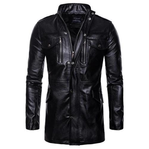 Mid-Length Collar Four-Pocket Locomotive Leather Jacket