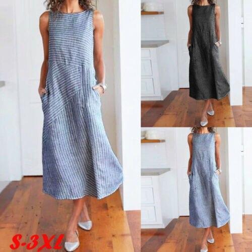 Lady Boho Sleeveless Party Tops Women Striped Stylish Dresses Zip up Loose Summer Beach Long Maxi Dress
