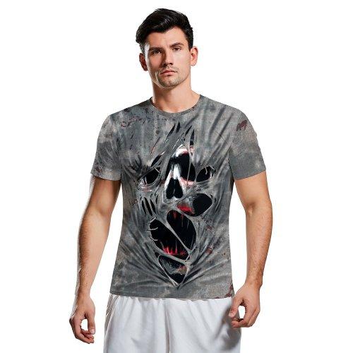 Halloween 3D Horror Skull Print Short Sleeve T-shirt