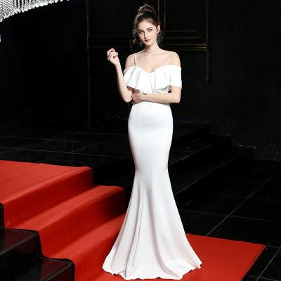 fashion One word collar evening Dresses Long Luxury evening Gown Sexy Mermaid Party Gowns elegant Slim fit  evening Dress