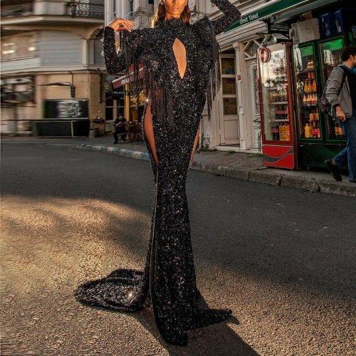 Tassel sequins long slim evening dress