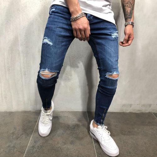 Ripped Holes Zipper Bottom Denim Pants Jeans