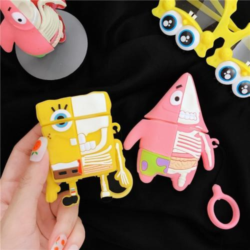 SpongeBob SquarePants 3D Silicone Couple AirPod Case Cover with Ring