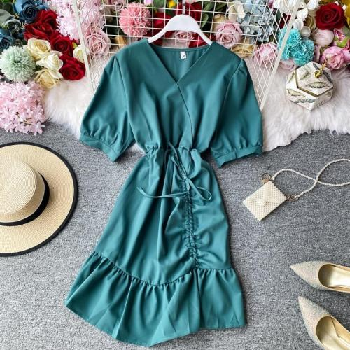JOYMANMALL Women Summer Drawstring Short Dress 2020 New French Retro V Neck A-line Dress Party Fashion Sweet Ruched Ruffles Dress