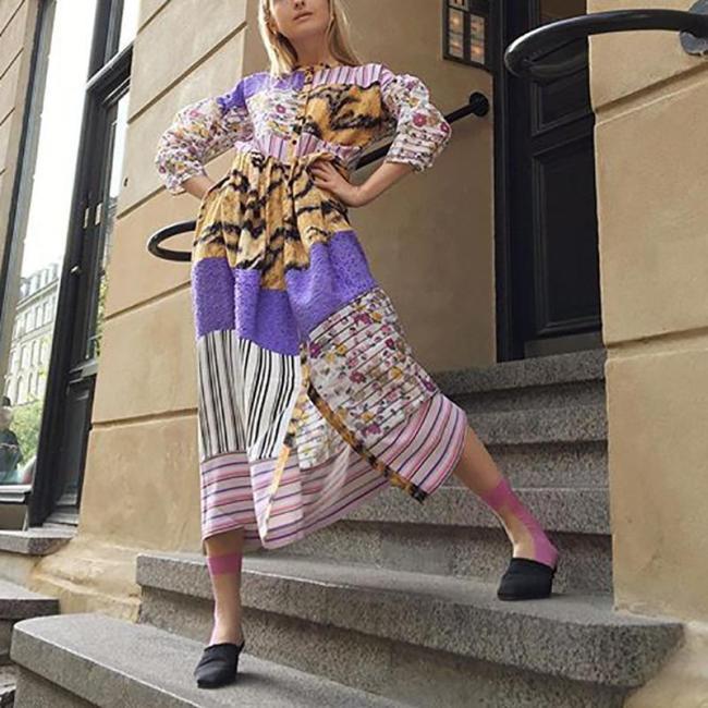Fashion Printed V Neck Bracelet Sleeve Single-Breasted Dress