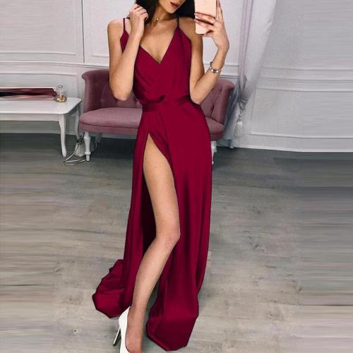 Sexy V-Neck Sling Split Mop Dress
