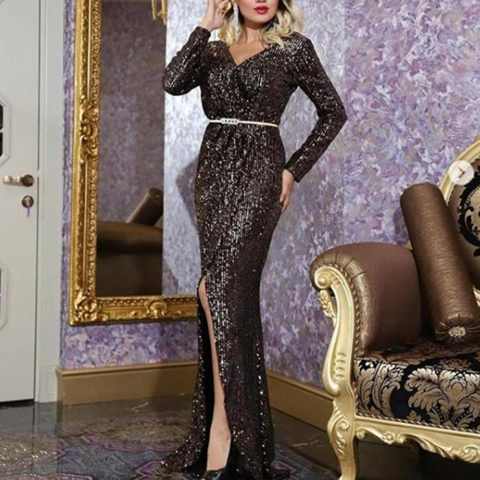 Fashion Sexy V-Neck Long Sleeve Shiny High Split Dress