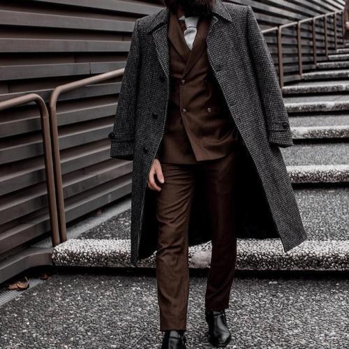 VintageA Lapel Check Long Sleeve Coat