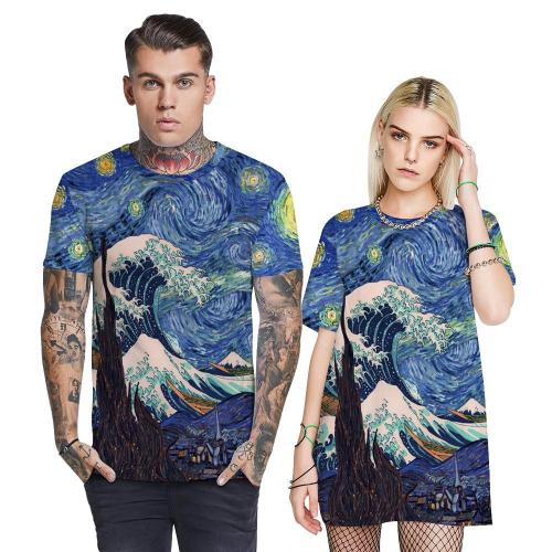 3D Oil Painting Printed Funny Men T-shirt Loose Casual Novelty Short Sleeve Tees Top