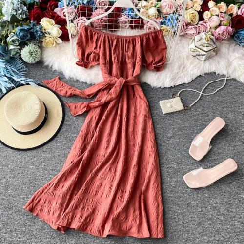 JOYMANMALL Women Sexy Off Shoulder Midi Dress Sweet Retro Puff Sleeve Lace up Dress Summer French Romantic Holiday Beach Sundress