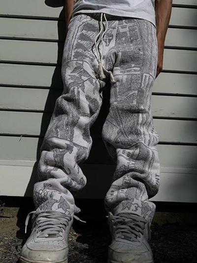 Gray single line casual loose mens trousers TT010