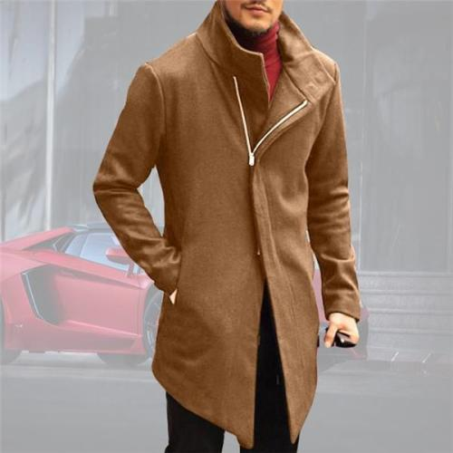 Gentle Business Fashion Slim Plain Zipper Long Sleeve Men Coat Outerwear