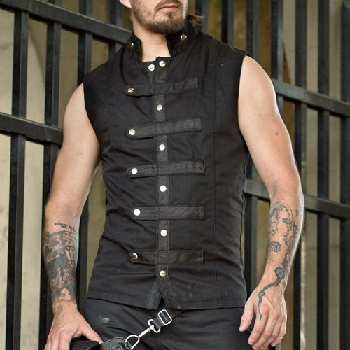 Retro men's decorative button sleeveless vest