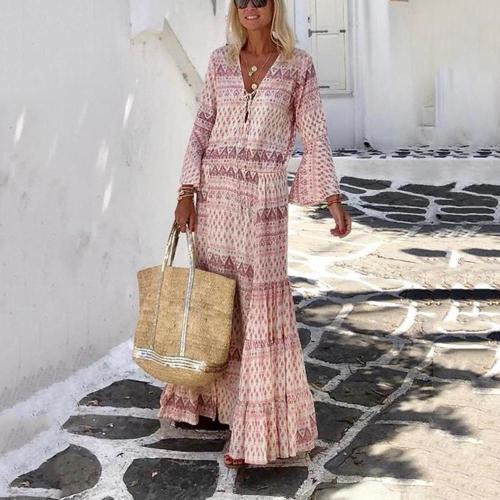 Women's Bohemia V Neck Print Long Sleeve Casual Maxi Dress