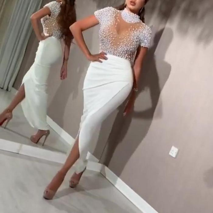 Pearl Split Wrapped Evening Dress