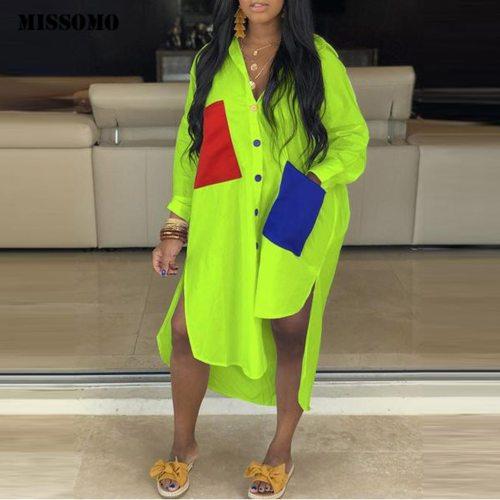 urndown-Collar Button Pocket Shirt Dress Long Sleeve Loose Summer Dress Spliced Split Dresses Maxi Dresses