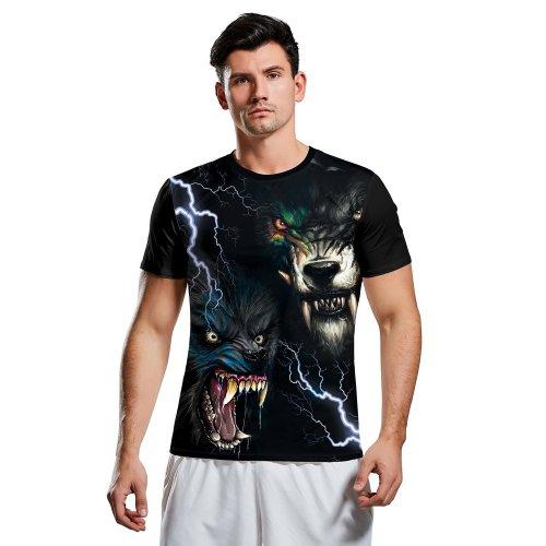 3D Wolf Print Short Sleeve Halloween T-shirt