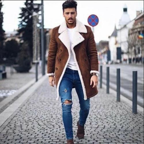 2020 Fashion Men Fur Fleece Blends Brown Color Trench Coat Overcoat Lapel Warm Fluffy Jacket Outerwear Male Boy Warm Jacket
