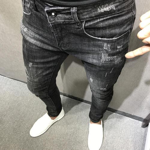 Ripped Holes Denim Jeans