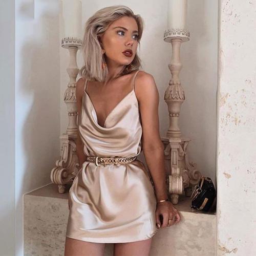 Sexy Champagne Satin Party Dress Night Club Women Sleeveless Summer Dresses Sundress A Line Solid Bodycon Female robe vestido