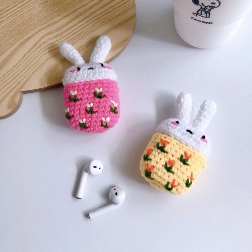 Cartoon Rabbit Handmade Knitted Plush Doll Winter AirPod Case