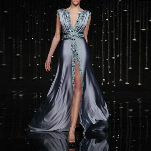 Sexy Fashion Deep V Collar Sleeveless Sequin Fork Evening Dress