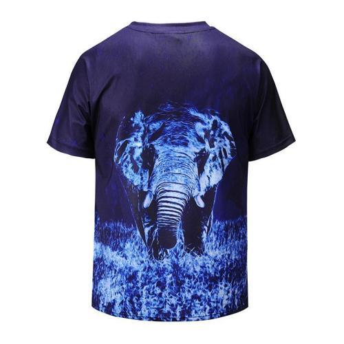 Loose V-neck 3D Elephant Print T-Shirt