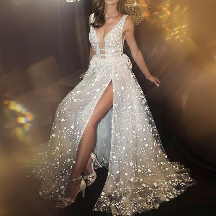 Deep V Sequined Flouncing Slit Evening Dress