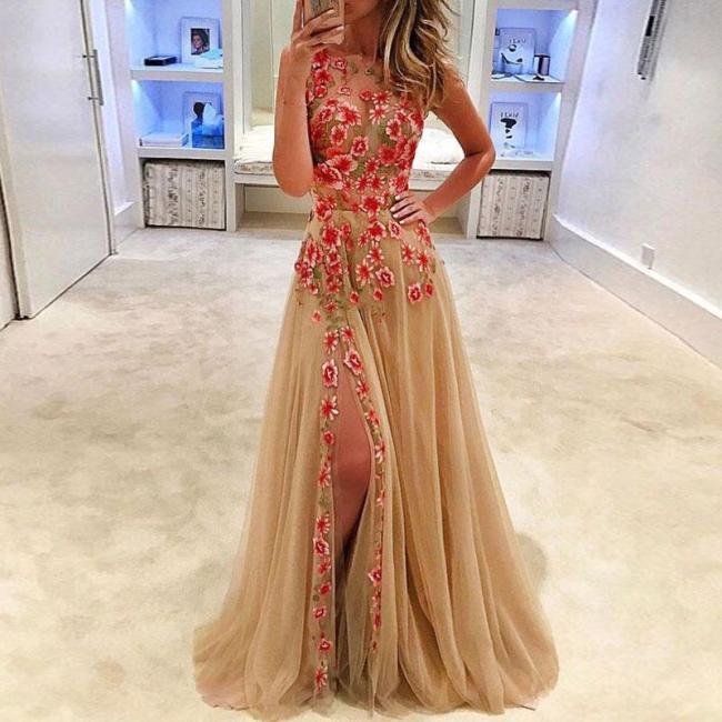 Sexy Luxury Embroidered Slit Sleeveless Evening Dress