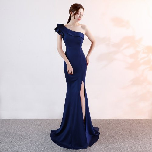 fashion One-shoulder Evening dress Sleeveless Elegant Mermaid long evening dresses Party Open fork Gowns Prom sexy dresses