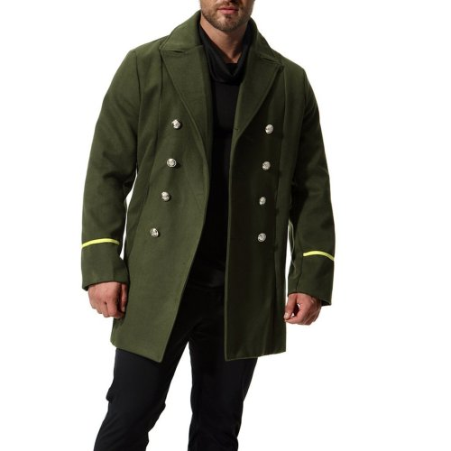 Mens Fashion Long Section Woolen Coat