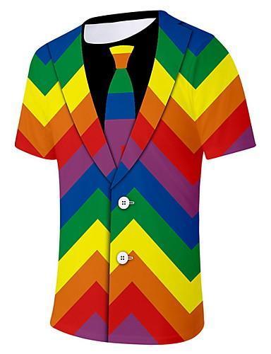 Men Daily Wear Color Block Round Neck Rainbow T-shirt