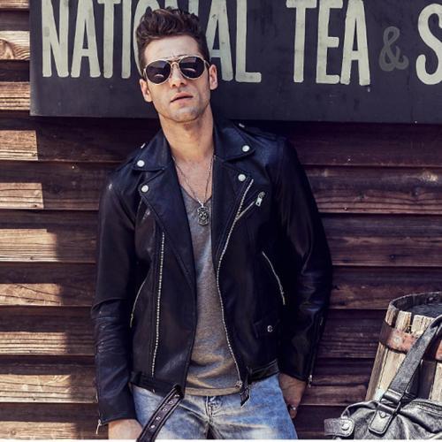Men's locomotive slim casual lapel zip zip leather jacket