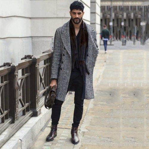 Fashion Lapel Plain Thicken Business Woolen Long Coat