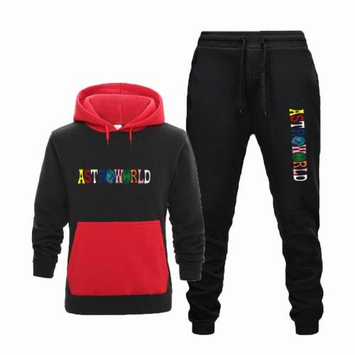 European and American men are casual prints TRAVIS SCOTT ASTROWORLD hoodies sports tops + fashionable guard pants suits