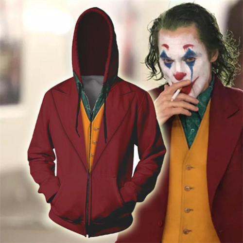 The Joker Print Zip Hoodie Casual Sweatshirt
