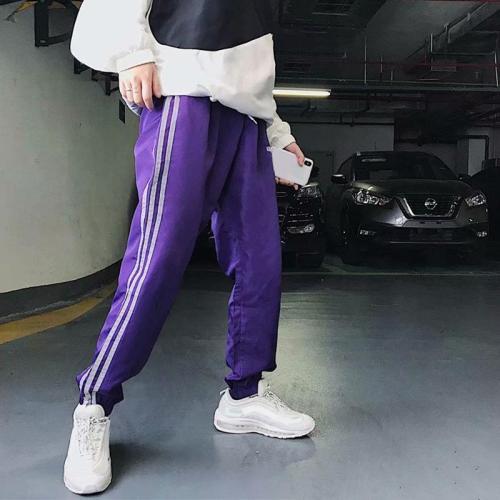 Street colorblock striped loose slacks TT076