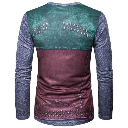 Fake Two-piece Printed Crew Neck Long-sleeved T-shirt